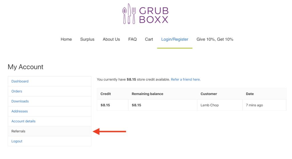 screenshot showing referral activity inside grub boxx user account